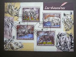 Rhinoceros. Nashörner  # Central African Republic # 2014 Used S/s # Rhino Mammals - Rhinozerosse