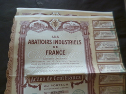 Lot 2 Actions Les Abattoirs Industriels De France 1921 - Landbouw