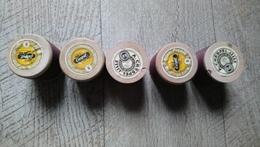 Lot 5 Bobines 6 Fils Spécial Machines à Coudre Glacé N°8 France Crespel Ancien Maroquinerie Travail Cuir - Creative Hobbies