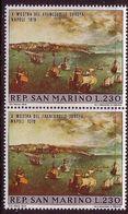 San Marino 1970, Mi 954 X 2v, Pair, Philatelic Exhibition, Naples, Painting P. Bruegel, Sea, Sea Fleet, MNH ** - Ungebraucht