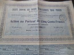 Action 500 Francs Au Porteur Anciens établissements Perrier Henri à Sauve Gard 1922 - Industrie