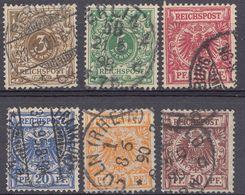 ALLEMAGNE -  DEUTSCHLAND - GERMANIA - 1889/1900 -  Lotto Obliterato Yvert 45/50; 6 Valori. - Allemagne
