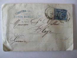 02022018 - PLI/FACTURE COMPTOIR LYONNAIS ROBIN,RONDEL & Cie 1885-TIMBRE 15C SAGE BLEU DE PRUSSE - France