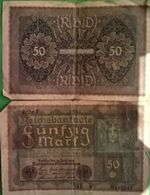 50 Fünfzig Mark ReichsBanknote Reichbankdirektorium 24/6/1919 Reihe 3 AD B  N°4829901- 2 Adler Stempels - Philippines