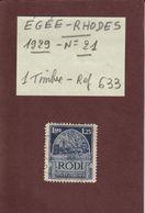 EGEE . RHODES  - N° 21  De 1929 - Oblitéré . En L'état.....voir Les 2 Scannes - Crète