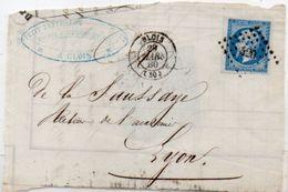 Fragment  De Lettre  Adressée De BLOIS  A  LYON  (PC 420) Yvert 14 (Bord De Feuille)  (102275) - 1853-1860 Napoléon III.