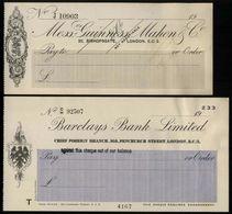 Guinness, Mahon & Co. And Barclays Bank, 1926, 1938 - Schecks  Und Reiseschecks