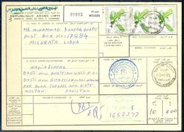 L67- Libya Parcel Receipt Cover Send To Pakistan. 1990 Revolution Anniversary Birds Eagle. - Libia