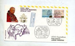Lettre Vol  Pape Rome Lagos - Avions