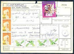 L72- Libya Parcel Receipt Cover Send To Pakistan. Football Soccer World Cup. 1992 Col. Khadafy Definitive. Eagle. Bird. - Libya