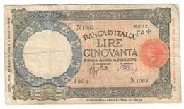 Italy 50 Lire 23/08/1943 BI Repaired / Riparato - [ 1] …-1946 : Kingdom