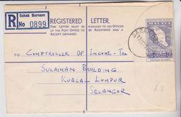 1959 MALAYA Federation Registered Letter 1v., Map Sent To Selangor Postal Stationery Used - Federation Of Malaya