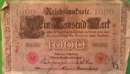 1000 Ein Tausend Mark R B D Série M Nr6274730G Berlin 21/4/1910 (2 Zwei Rote Adler) - [ 2] 1871-1918 : German Empire