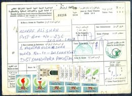 L94- Libya Parcel Receipt Cover Send To Pakistan. 1990 Birds Oiseaux Eagle. 1995 Doors From Mizda Architecture Heritage - Libya