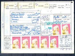 L102- Libya Parcel Receipt Cover Send To Pakistan. 1992 Definitive Col. Khadafy. - Libya