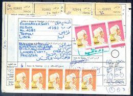 L103- Libya Parcel Receipt Cover Send To Pakistan. 1992 Definitive Col. Khadafy. - Libya