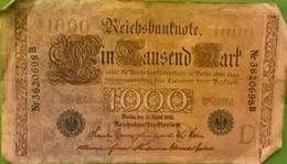 1000 Ein Tausend Mark R B D Série D Nr3620698B Berlin 21/4/1910 (2 Zwei Grün Adler)- - [ 2] 1871-1918 : German Empire