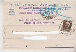 STORIA POSTALE REGNO 1933 BARI  ANNULLO FIERA DEL LEVANTE SIDERGICA COMMERCIALE  GT - 1900-44 Vittorio Emanuele III
