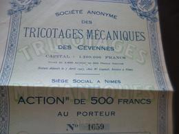 Action 500 Francs Société Anonyme Des Tricotages Mécaniques Des Cévennes 1927  En L'état - Industrie