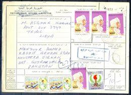 L131- Libya Parcel Receipt Cover Send To Pakistan. 1992 Definitive Col. Khadafy. - Libya