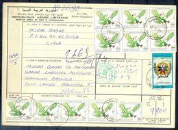 L135- Libya Parcel Receipt Cover Send To Pakistan. 1990 Birds Oiseaux Vögel Aves Eagle Adler. 1989 Palestine Israel Inti - Libya