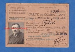 Carte Du Combattant De 1934 - François FABRE Maître Bottier Au 501e Régiment De Char De Combat - Né à Estréchoux - Documents Historiques