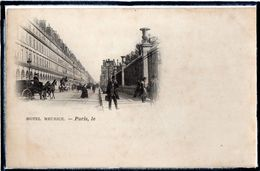 """PARIS - 1ER ARRDT - HOTEL """" MEURICE """" - RUE - ANIMATION - DOS 1900 SANS EDITEUR - Arrondissement: 01"""