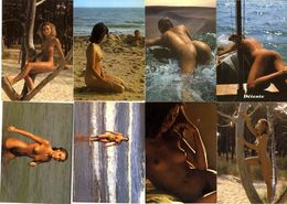 NUES  LOT 8 CARTES MODERNES  NATURISME  BAIGNADE SAUVAGE - Nudi Adulti (< 1960)