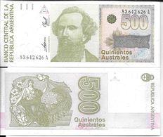 REPUBLICA ARGENTINA PROCER NICOLAS AVELLANEDA BILLETE DE 500 AUSTRALES EXCELENTE ESTADO - Argentina
