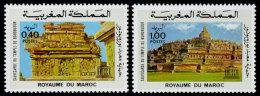 Morocco, 1976, UNESCO, Save Borobudur, United Nations, MNH, Michel 832-833 - Marruecos (1956-...)