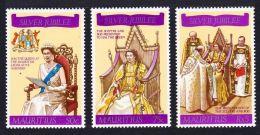 Mauritius, 1977, Silver Jubilee Queen Elizabeth II, Royal, MNH, Michel 425-427 - Maurice (1968-...)