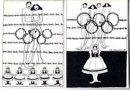 CHRISTINE LESUEUR  BOYCOOT DES JEUX OLYMPIQUES 1980 DE MOSCOU   -  2 CARTES - Lesueur