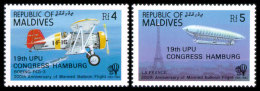 Maldive Islands, 1984, UPU World Postal Congress Hamburg, Zeppelin, United Nations, MNH Overprinted, Michel 1041-1042 - Maldive (1965-...)
