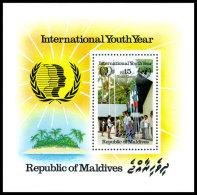 Maldive Islands, 1985, International Youth Year, IYC, UNICEF, United Nations, MNH, Michel Block 112 - Maldives (1965-...)