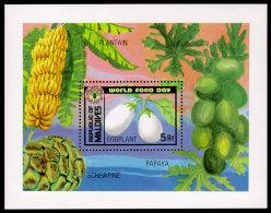 Maldive Islands, 1981, World Food Day, FAO, WFP, Papaya, United Nations, MNH, Michel Block 80 - Malediven (1965-...)