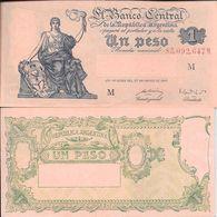 REPUBLICA ARGENTINA BANCO CENTRAL BILLETE DE 1 UN PESO AÑO 1947 MUY BUEN ESTADO ORIGINAL - Argentina