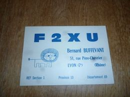 BC10-2-0-3 Carte Radio Amateur Lyon 7ème Arrond.  Bernard Buffevant Timbre QSL - Radio & TSF