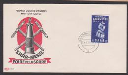 Saarland 341 Saarmesse Foire De La Sarre FDC Bergbau Miene Grubenlampe - 1947-56 Ocupación Aliada