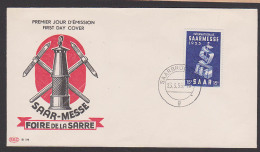 Saarland 341 Saarmesse Foire De La Sarre FDC Bergbau Miene Grubenlampe - 1947-56 Occupazione Alleata