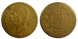 02597 GETTONE JETON TOKEN MEDAL UMBERTO I RE D'ITALIA 1891 L. 20 COPIA - Royal/Of Nobility