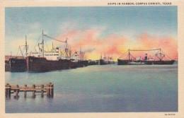 Texas Corpus Christi Ships In Harbor Curteich - Corpus Christi
