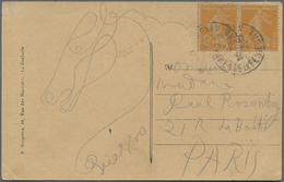 Autographen: PICASSO Pablo, A ORIGINAL HANDDRAWN CARD With Motive Horse's Head + Signature Both Unif - Autographs