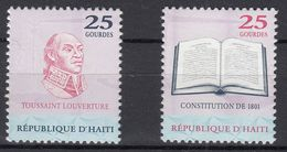 HAITI 2001 - 1801 CONSTITUTION - Sc 933a And 933b FROM Souvenir Sheet. Timbres Du Bloc Feuillet RARE ! - Haïti