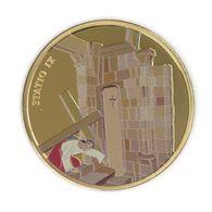 Via Dolorosa Stop IX - 39 Mm Gilded, Painted Bronze .1 Ounce. Jesus Falls A Third Time. - Israel