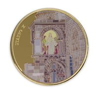 Via Dolorosa Stop X - 39 Mm Gilded, Painted Bronze .1 Ounce. Jesus Is Stripped Of His Clothes. - Israel