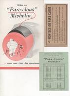 Publicités Michelin Pliée En Deux  - Pare Clous Michelin Avec Notice De Montage Et Tarif 1924 - Advertising