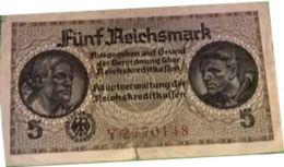 5 Fünf Reichsmark 1940 Série T.0043883 Allegorie/Brandenburg (Reichskreditkassenschein) - [ 4] 1933-1945 : Troisième Reich