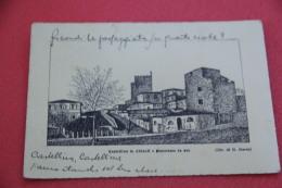 Castellina In Chianti Siena Panorama Da Sud Disegno G. Barni 1942 - Siena