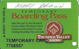 Thunder Valley Casino Lincoln CA - Temporary Boarding Pass Card - Casino Cards