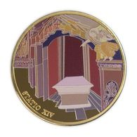 Via Dolorosa Stop XIV - 39 Mm Gilded, Painted Bronze .1 Ounce.Jesus Laid In The Tomb. - Israel